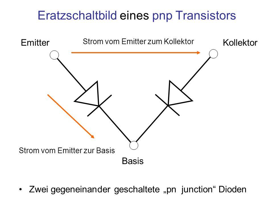 Eratzschaltbild eines pnp Transistors Zwei gegeneinander geschaltete pn junction Dioden Kollektor Emitter Basis Strom vom Emitter zum Kollektor Strom
