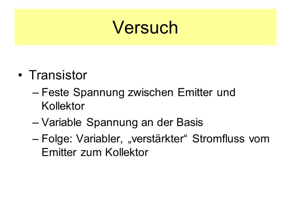 Versuch Transistor –Feste Spannung zwischen Emitter und Kollektor –Variable Spannung an der Basis –Folge: Variabler, verstärkter Stromfluss vom Emitte