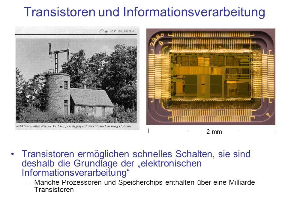 Transistoren und Informationsverarbeitung Transistoren ermöglichen schnelles Schalten, sie sind deshalb die Grundlage der elektronischen Informationsv