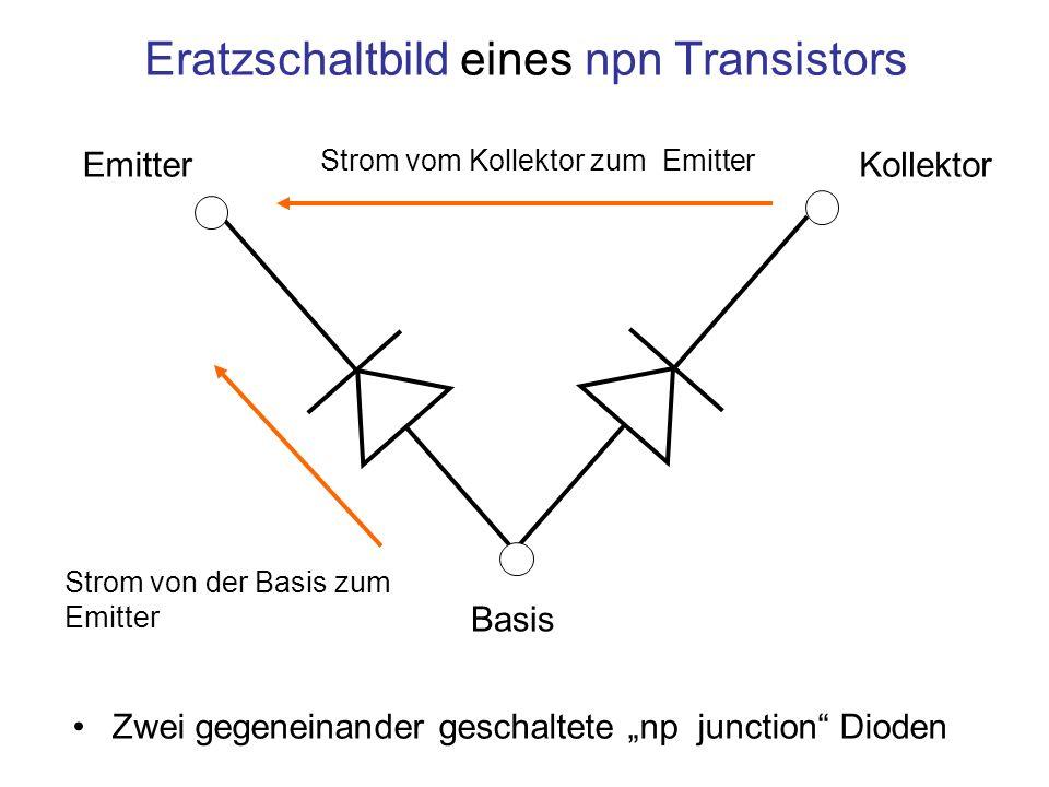 Eratzschaltbild eines npn Transistors Zwei gegeneinander geschaltete np junction Dioden Kollektor Emitter Basis Strom vom Kollektor zum Emitter Strom