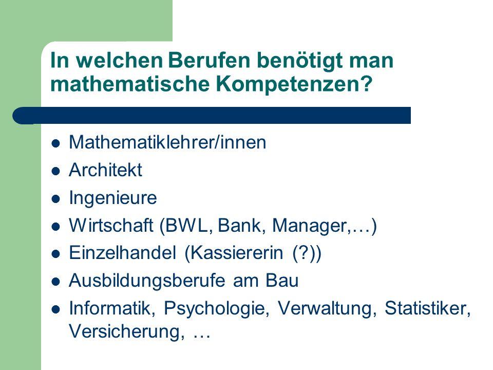In welchen Berufen benötigt man mathematische Kompetenzen? Mathematiklehrer/innen Architekt Ingenieure Wirtschaft (BWL, Bank, Manager,…) Einzelhandel