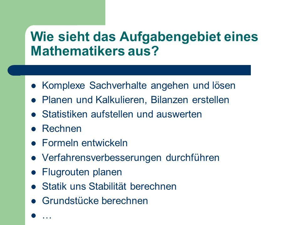 Wie sieht das Aufgabengebiet eines Mathematikers aus? Komplexe Sachverhalte angehen und lösen Planen und Kalkulieren, Bilanzen erstellen Statistiken a