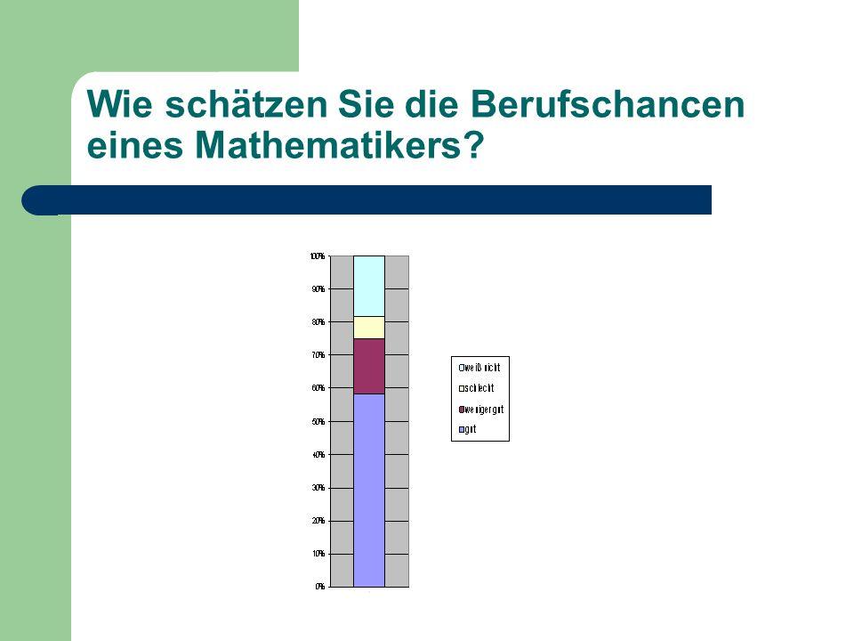 Wie schätzen Sie die Berufschancen eines Mathematikers?