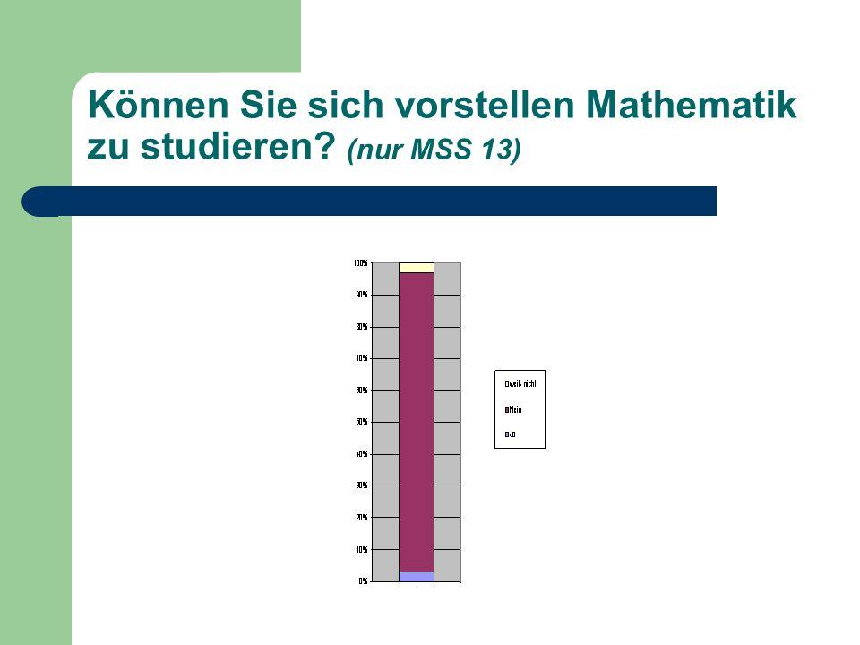 Können Sie sich vorstellen Mathematik zu studieren? (nur MSS 13)