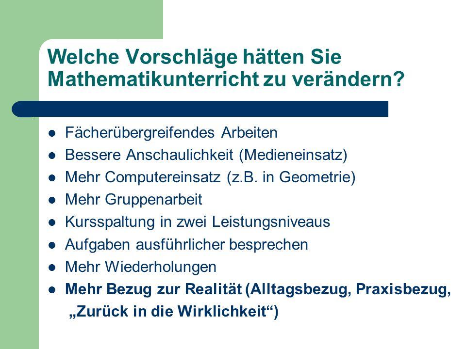Welche Vorschläge hätten Sie Mathematikunterricht zu verändern? Fächerübergreifendes Arbeiten Bessere Anschaulichkeit (Medieneinsatz) Mehr Computerein