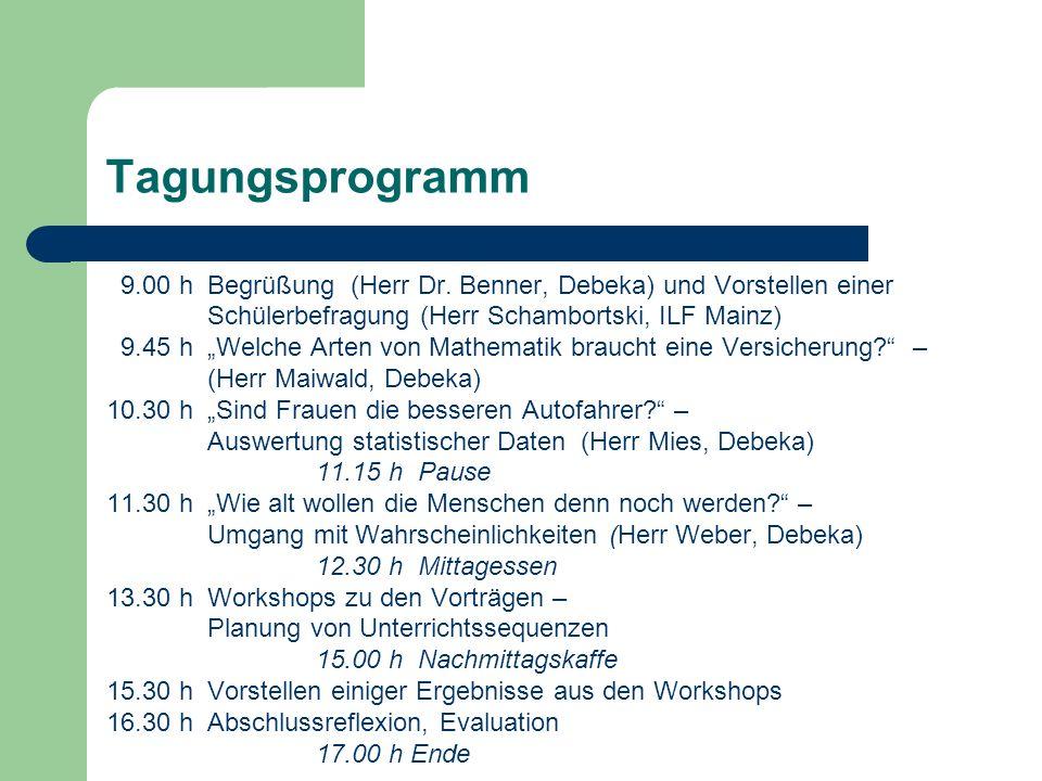 Tagungsprogramm 9.00 h Begrüßung (Herr Dr. Benner, Debeka) und Vorstellen einer Schülerbefragung (Herr Schambortski, ILF Mainz) 9.45 h Welche Arten vo