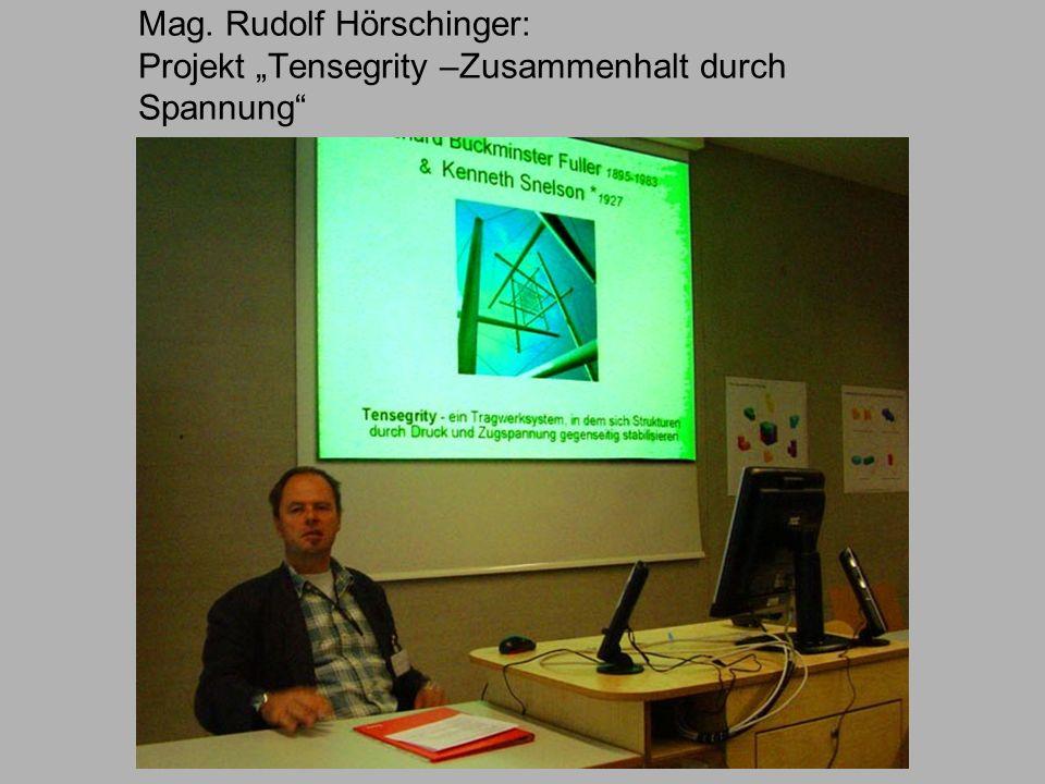 Mag. Rudolf Hörschinger: Projekt Tensegrity –Zusammenhalt durch Spannung