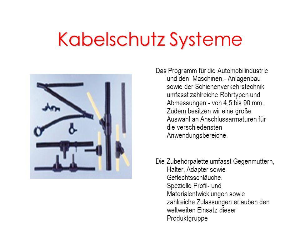 Kabelschutz Syst Kabelschutz Systeme Das Programm für die Automobilindustrie und den Maschinen,- Anlagenbau sowie der Schienenverkehrstechnik umfasst