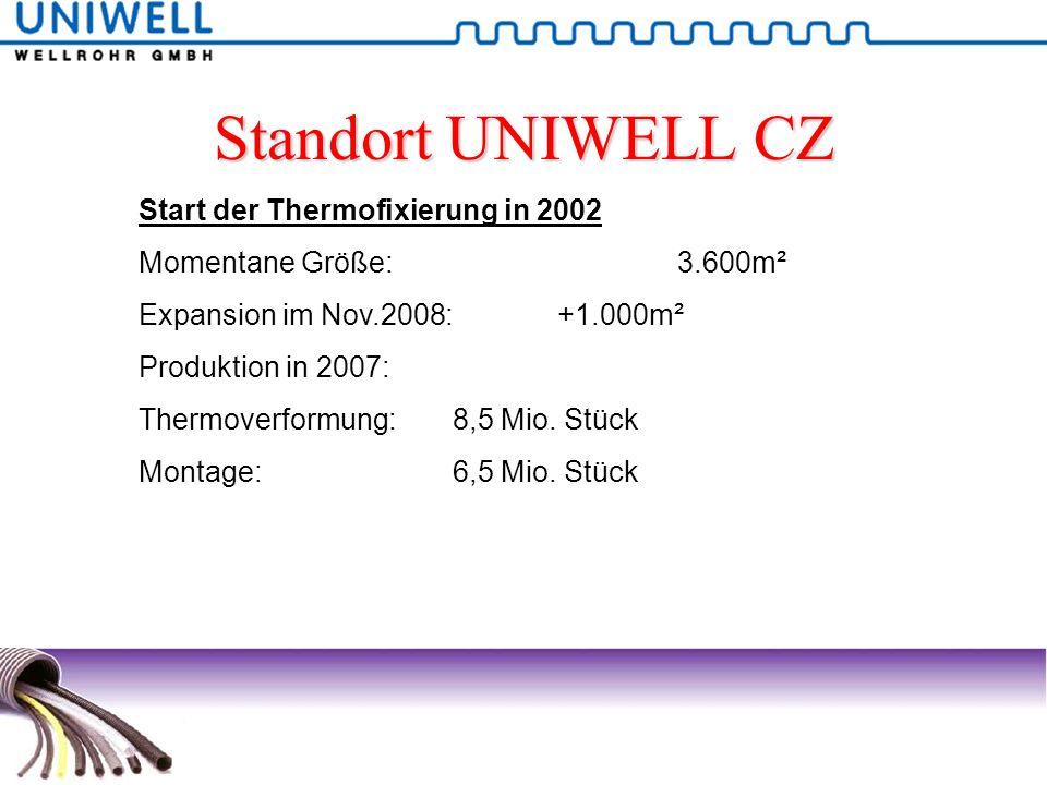 Standort UNIWELL CZ Start der Thermofixierung in 2002 Momentane Größe: 3.600m² Expansion im Nov.2008:+1.000m² Produktion in 2007: Thermoverformung:8,5