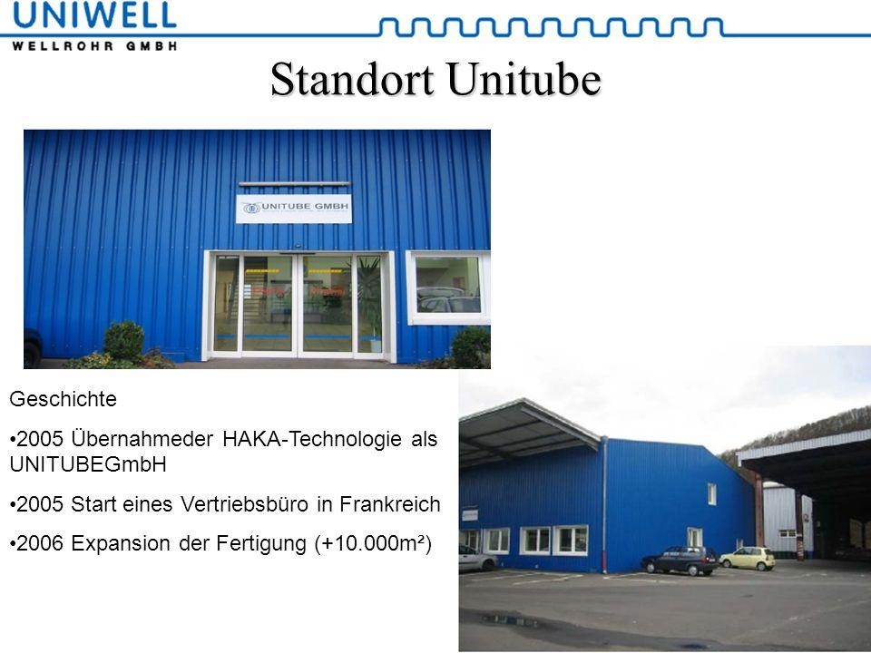 Standort Unitube Geschichte 2005 Übernahmeder HAKA-Technologie als UNITUBEGmbH 2005 Start eines Vertriebsbüro in Frankreich 2006 Expansion der Fertigu