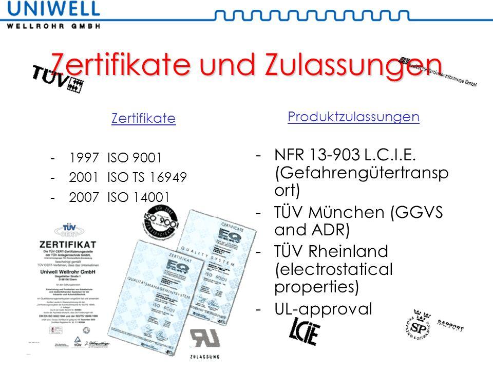 Zertifikate und Zulassungen Zertifikate -1997 ISO 9001 -2001 ISO TS 16949 -2007 ISO 14001 Produktzulassungen -NFR 13-903 L.C.I.E. (Gefahrengütertransp
