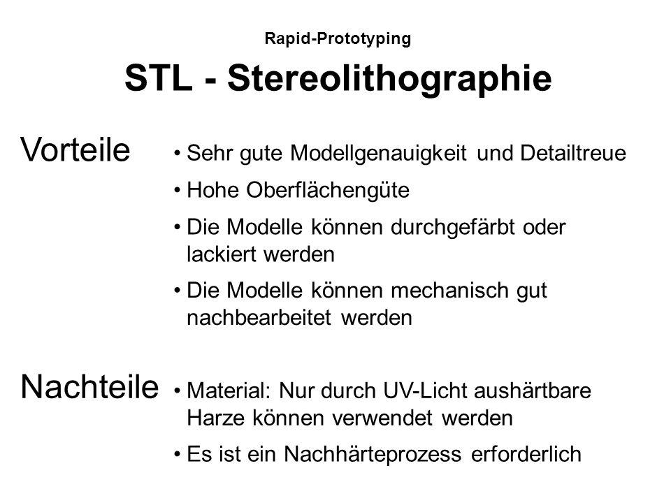 Rapid-Prototyping STL - Stereolithographie Ein computergesteuerter UV-Laserstrahl bildet die jeweiligen Konturen der Schichten auf einem flüssigen Pol