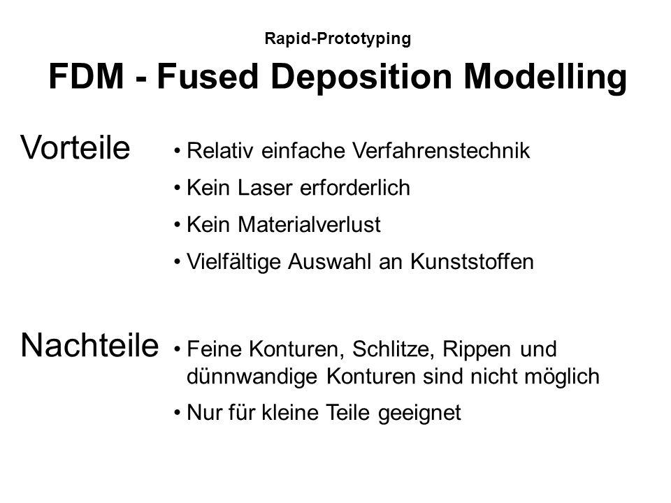 Rapid-Prototyping FDM - Fused Deposition Modelling Das FDM-Verfahren generiert das Bauteil aus thermoplastischem Draht. Über einen Vorschub wird der D