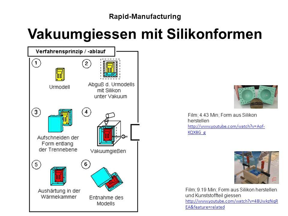 Häufig reicht ein einzelner Prototyp nicht aus. Es braucht Teile für Testversuche, Präsentationen, Photoshootings usw. Rapid-Manufacturing Vakuumgiess