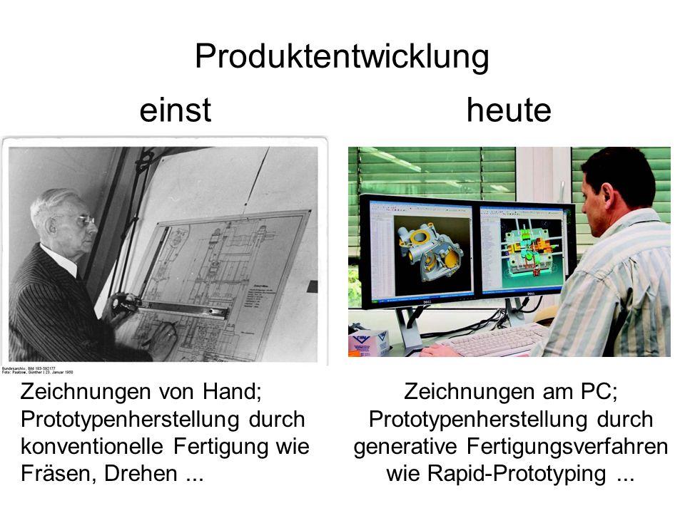 Produktentwicklung einst Zeichnungen von Hand; Prototypenherstellung durch konventionelle Fertigung wie Fräsen, Drehen...
