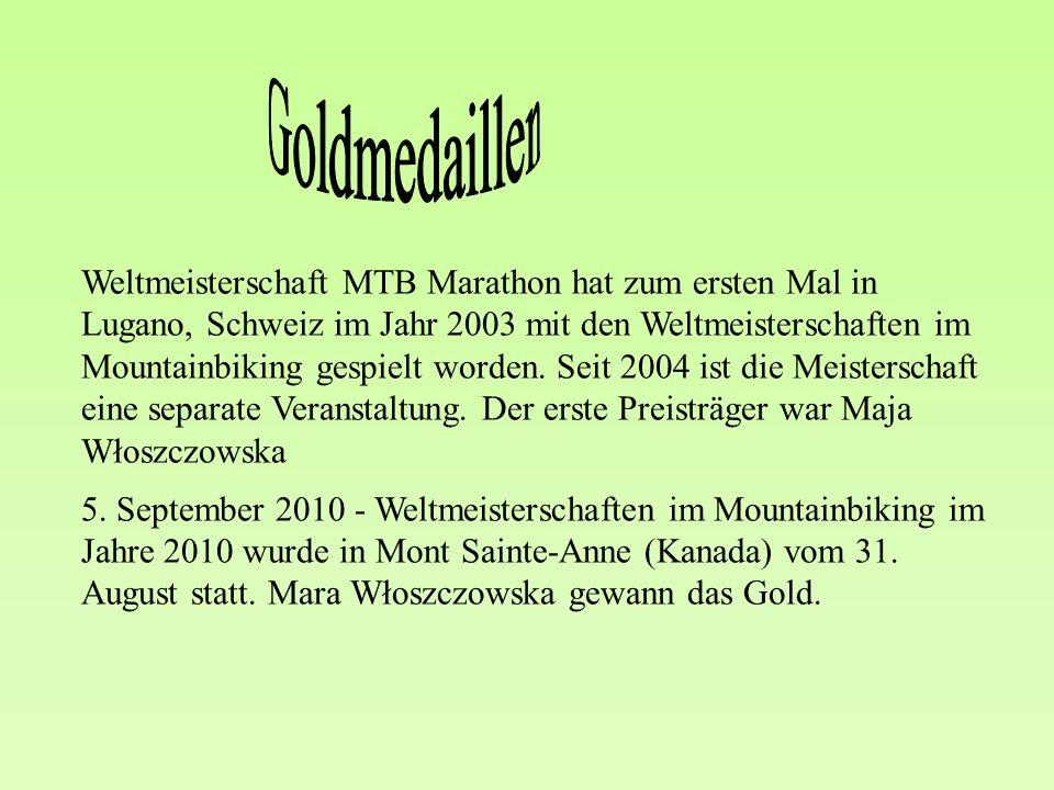 Weltmeisterschaft MTB Marathon hat zum ersten Mal in Lugano, Schweiz im Jahr 2003 mit den Weltmeisterschaften im Mountainbiking gespielt worden.