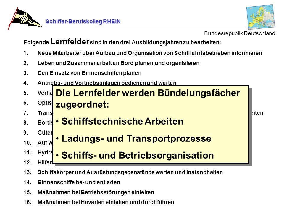 Schiffer-Berufskolleg RHEIN Bundesrepublik Deutschland 1.Neue Mitarbeiter über Aufbau und Organisation von Schifffahrtsbetrieben informieren 2.Leben u