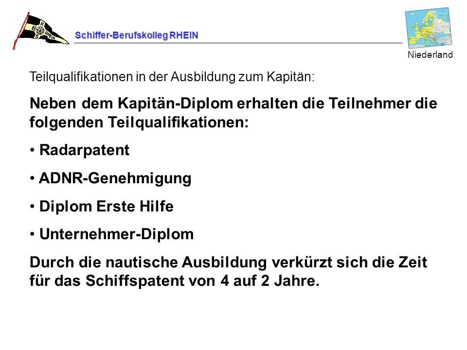 Schiffer-Berufskolleg RHEIN Teilqualifikationen in der Ausbildung zum Kapitän: Neben dem Kapitän-Diplom erhalten die Teilnehmer die folgenden Teilqual