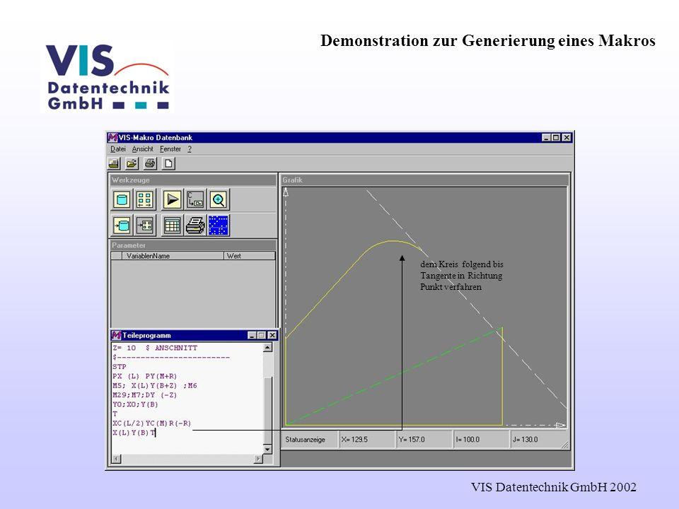 VIS Datentechnik GmbH 2002 dem Kreis folgend bis Tangente in Richtung Punkt verfahren Demonstration zur Generierung eines Makros