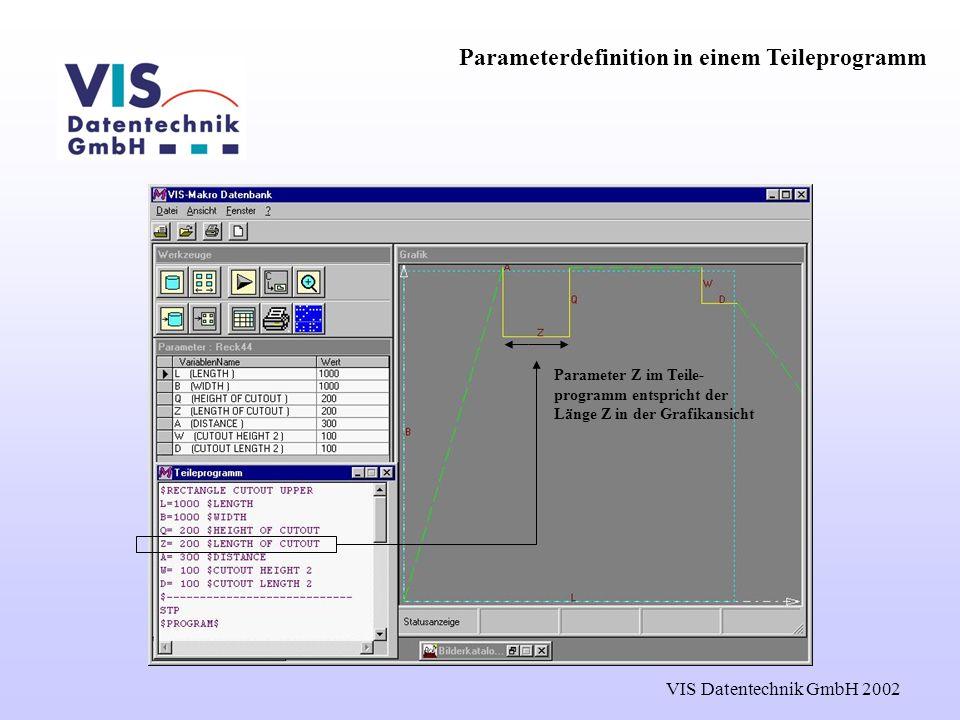 VIS Datentechnik GmbH 2002 Parameterdefinition in einem Teileprogramm Parameter Z im Teile- programm entspricht der Länge Z in der Grafikansicht