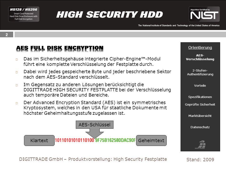 13 The National Institute of Standards and Technology of the United States of America Schützen Sie Ihre sensiblen Daten mit der DIGITTRADE HIGH SECURITY HDD.