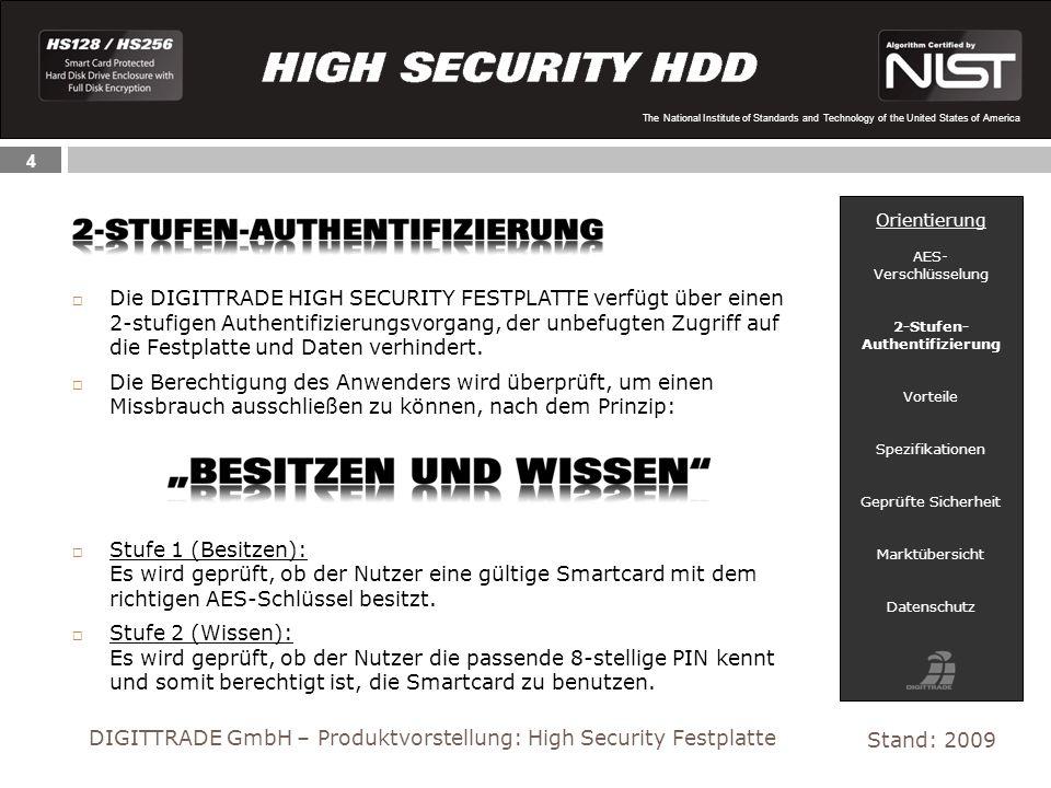 4 The National Institute of Standards and Technology of the United States of America Die DIGITTRADE HIGH SECURITY FESTPLATTE verfügt über einen 2-stufigen Authentifizierungsvorgang, der unbefugten Zugriff auf die Festplatte und Daten verhindert.