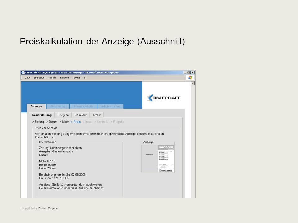 Preiskalkulation der Anzeige (Ausschnitt) © copyright by Florian Engerer