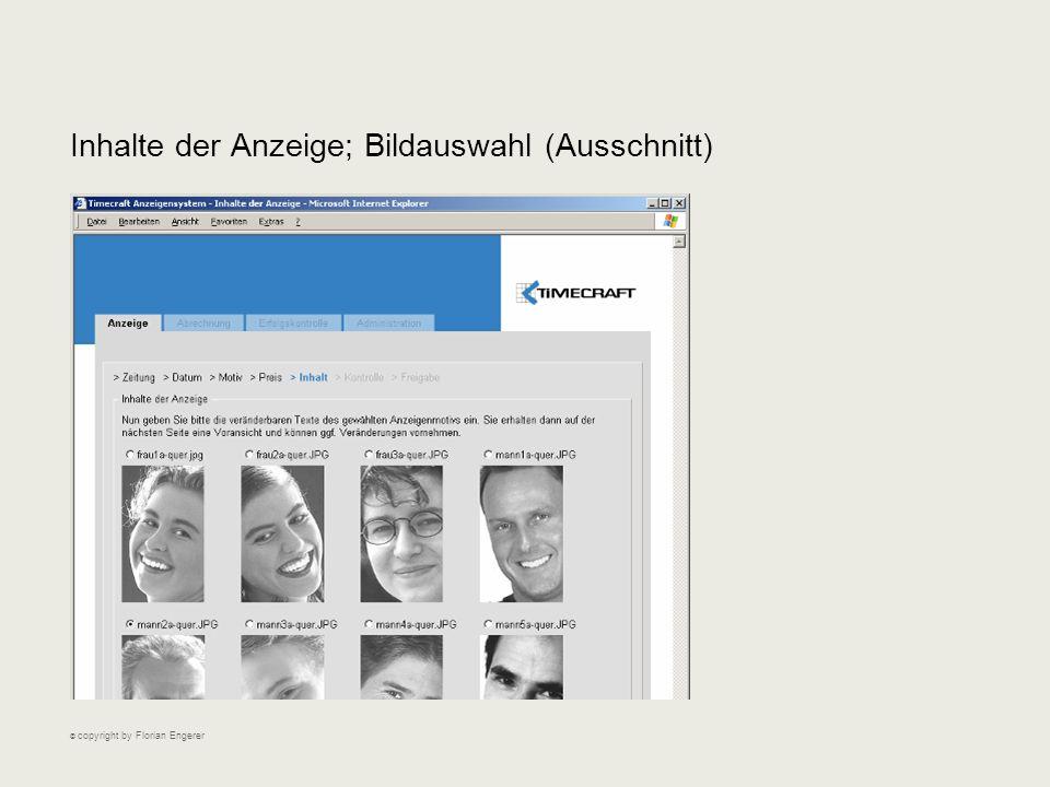 Inhalte der Anzeige; Bildauswahl (Ausschnitt) © copyright by Florian Engerer