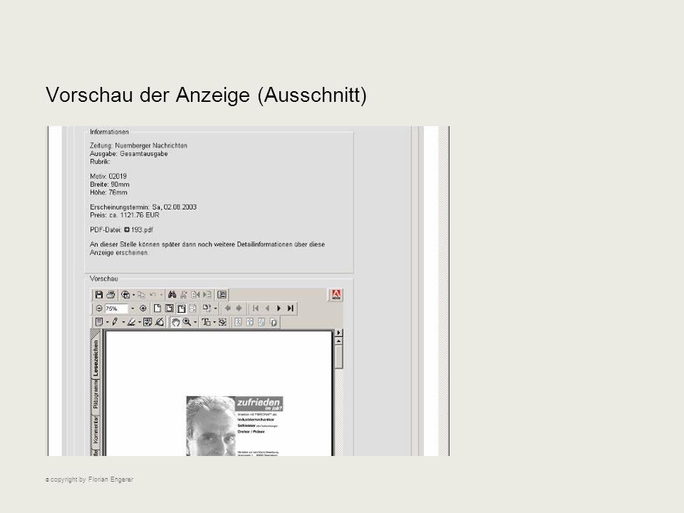 Vorschau der Anzeige (Ausschnitt) © copyright by Florian Engerer