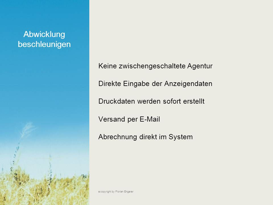Inhalte der Anzeige; ausgefüllt (Ausschnitt) © copyright by Florian Engerer