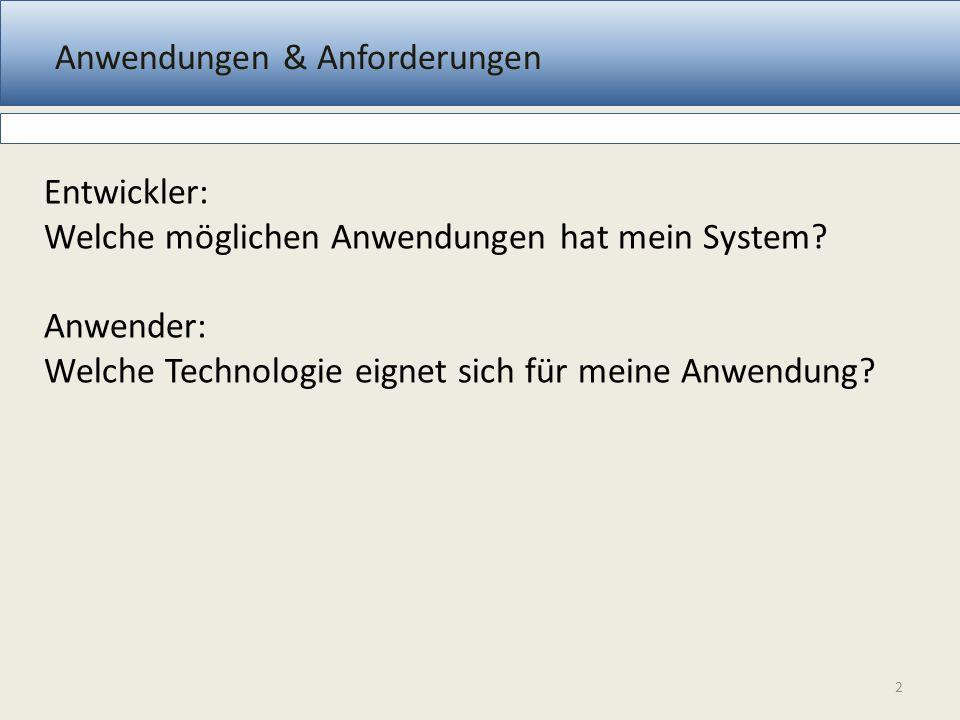 Anwendungen & Anforderungen 2 Entwickler: Welche möglichen Anwendungen hat mein System? Anwender: Welche Technologie eignet sich für meine Anwendung?