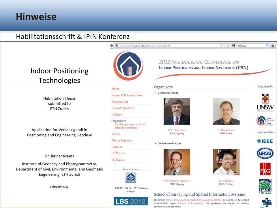 Hinweise Habilitationsschrift & IPIN Konferenz 32