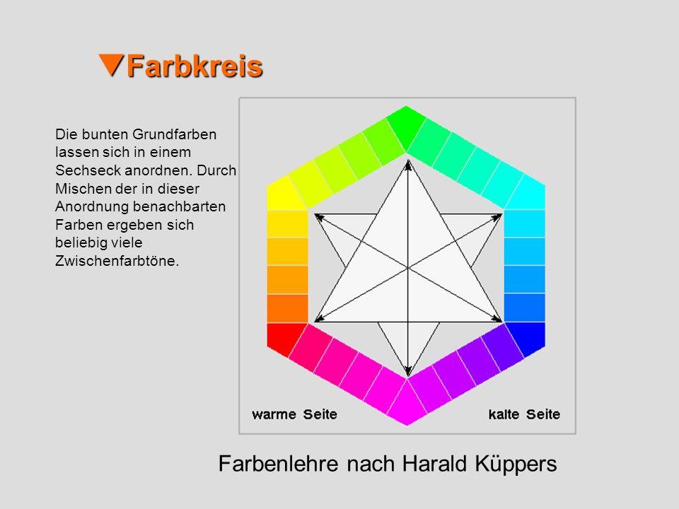 Farbkreis Farbkreis Farbenlehre nach Harald Küppers Die bunten Grundfarben lassen sich in einem Sechseck anordnen. Durch Mischen der in dieser Anordnu