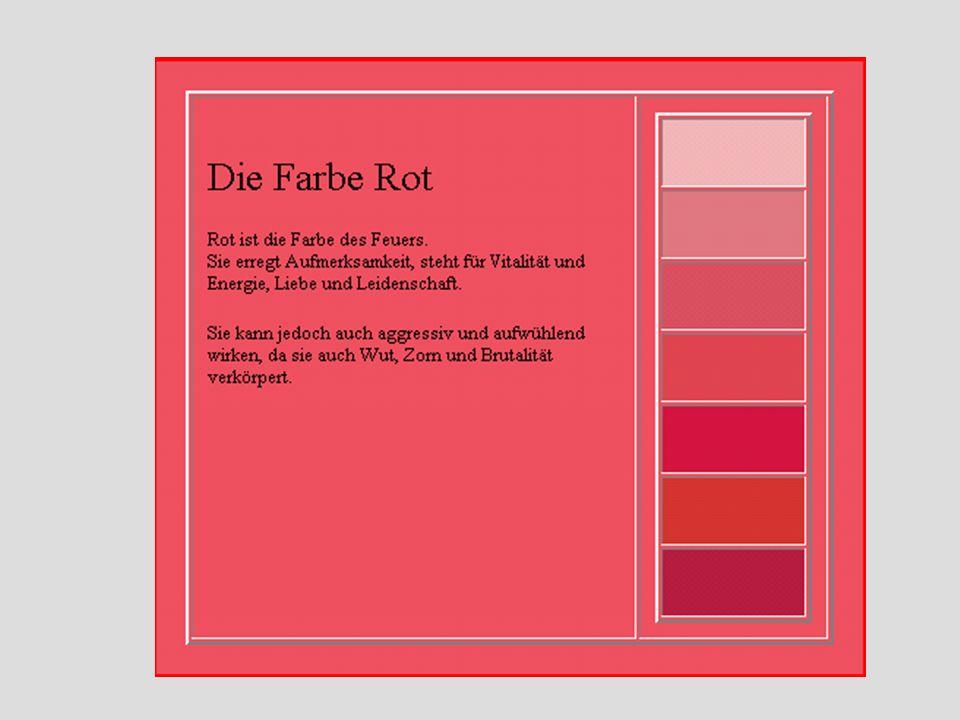 Farbwirkungen Farbwirkung auf den Gesamtorganismus Befinden wir uns für einige Zeit in einem roten Raum erhöht sich die Pulsfrequenz. Rot wird als war