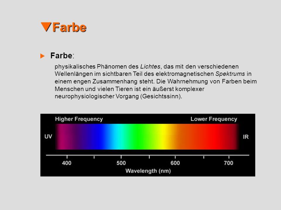 Farbe Farbe Farbe: physikalisches Phänomen des Lichtes, das mit den verschiedenen Wellenlängen im sichtbaren Teil des elektromagnetischen Spektrums in