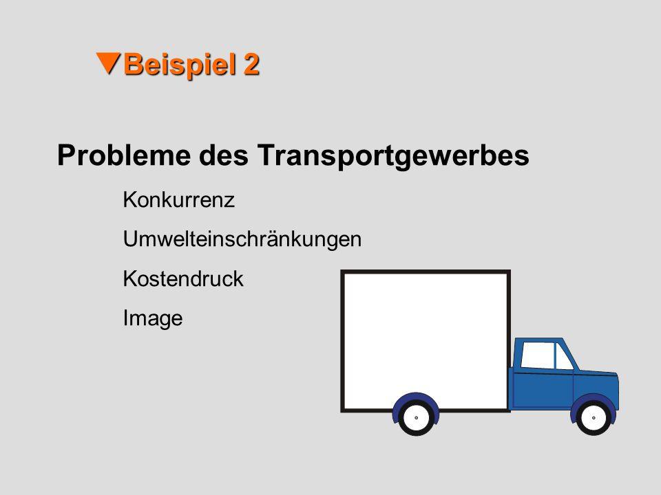 Beispiel 2 Beispiel 2 Probleme des Transportgewerbes Konkurrenz Umwelteinschränkungen Kostendruck Image