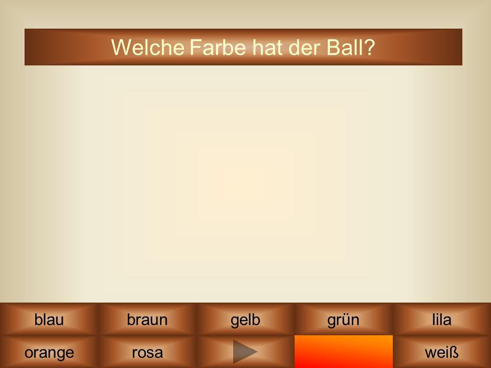 lila schwarzrot grüngelb orange blau weiß braun Welche Farbe hat der Ball? rosa