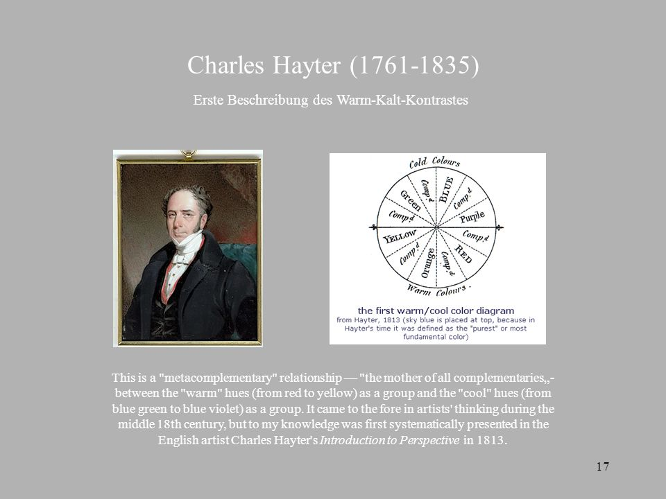 17 Charles Hayter (1761-1835) This is a metacomplementary relationship the mother of all complementaries- between the warm hues (from red to yellow) as a group and the cool hues (from blue green to blue violet) as a group.