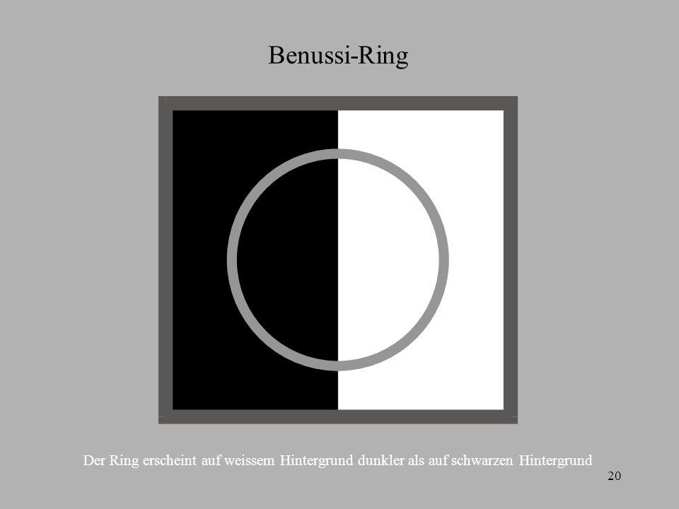 20 Benussi-Ring Der Ring erscheint auf weissem Hintergrund dunkler als auf schwarzen Hintergrund