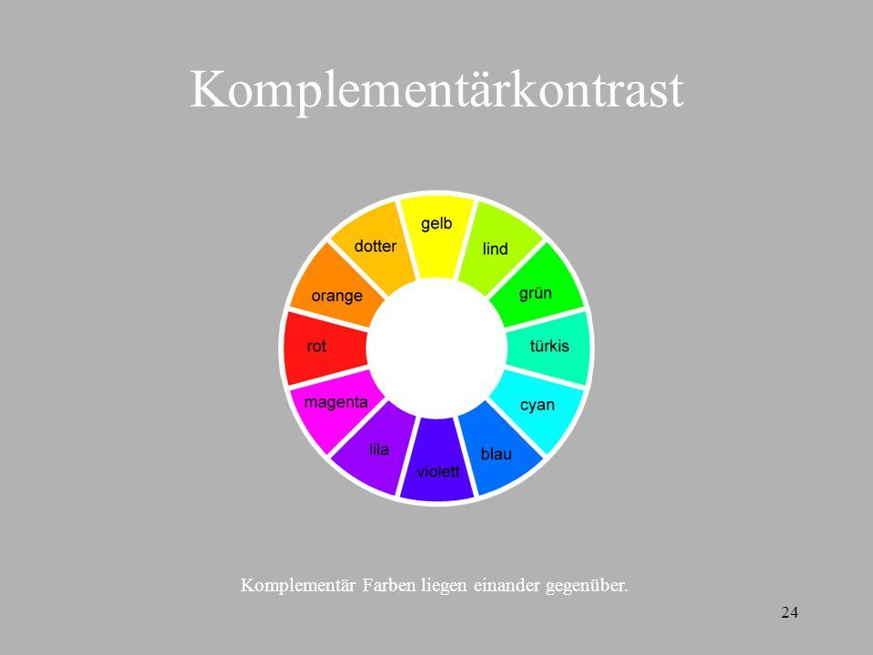 24 Komplementärkontrast Komplementär Farben liegen einander gegenüber.