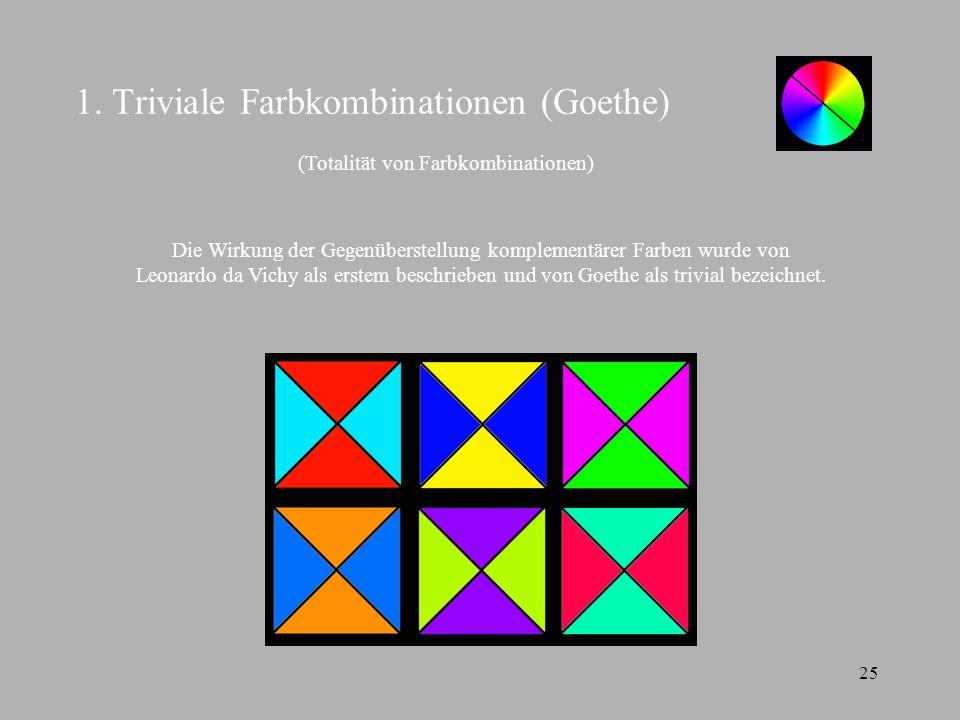 25 1. Triviale Farbkombinationen (Goethe) Die Wirkung der Gegenüberstellung komplementärer Farben wurde von Leonardo da Vichy als erstem beschrieben u