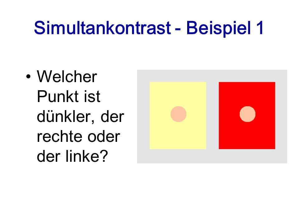 Simultankontrast - Beispiel 1 Welcher Punkt ist dünkler, der rechte oder der linke?