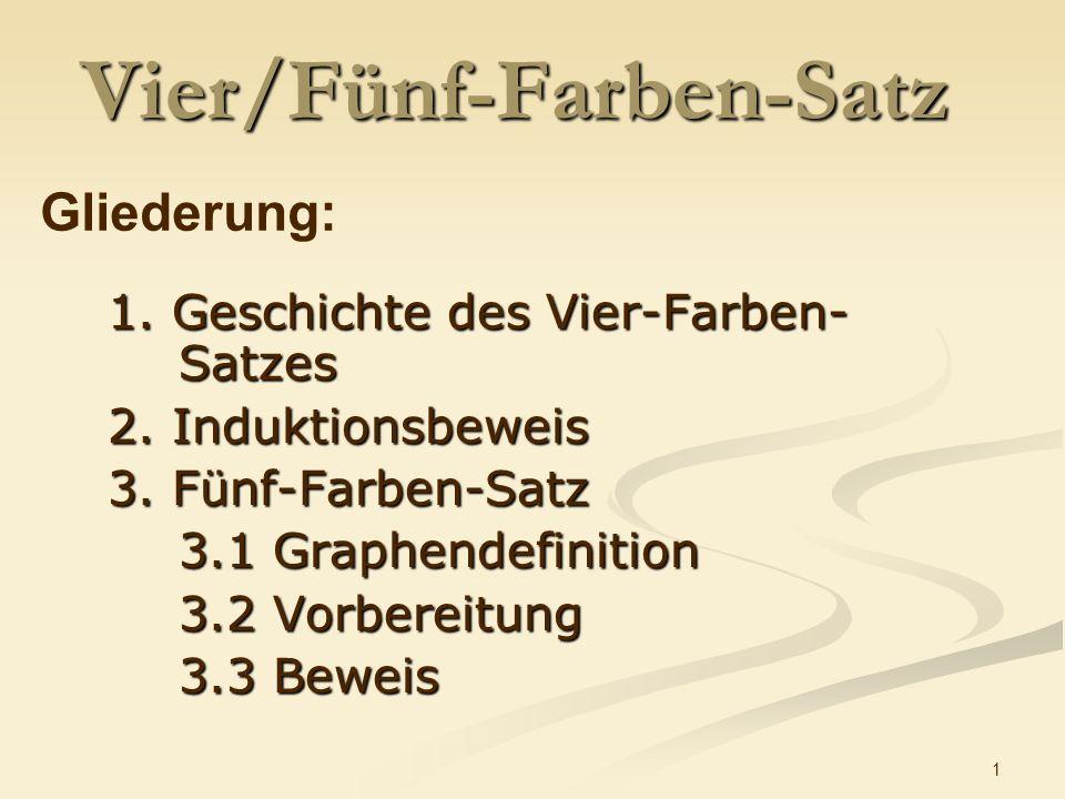 1 Vier/Fünf-Farben-Satz 1.Geschichte des Vier-Farben- Satzes 2.