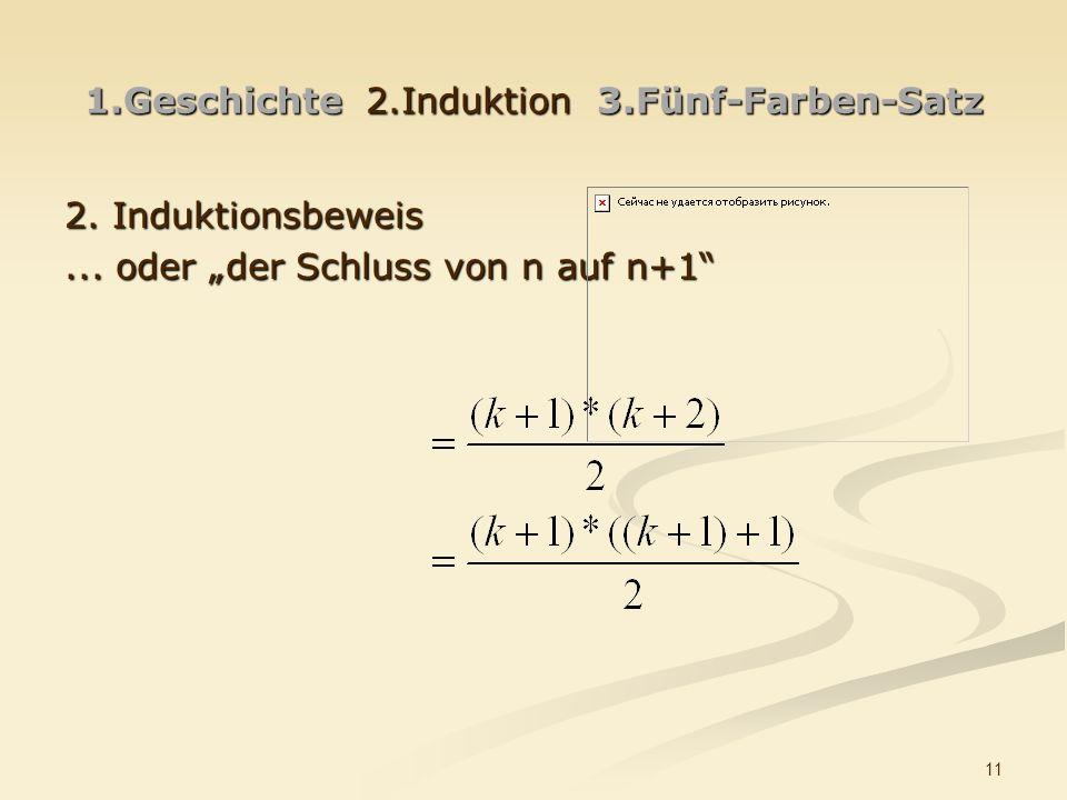 11 1.Geschichte 2.Induktion 3.Fünf-Farben-Satz 2. Induktionsbeweis... oder der Schluss von n auf n+1