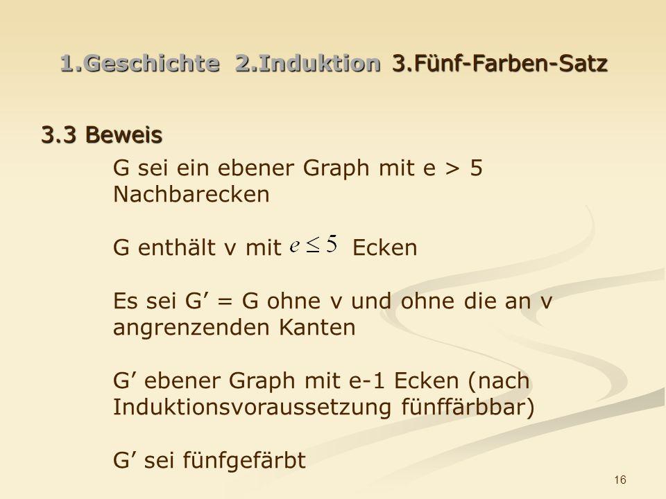 16 1.Geschichte 2.Induktion3.Fünf-Farben-Satz 3.3 Beweis G sei ein ebener Graph mit e > 5 Nachbarecken G enthält v mit Ecken Es sei G = G ohne v und ohne die an v angrenzenden Kanten G ebener Graph mit e-1 Ecken (nach Induktionsvoraussetzung fünffärbbar) G sei fünfgefärbt