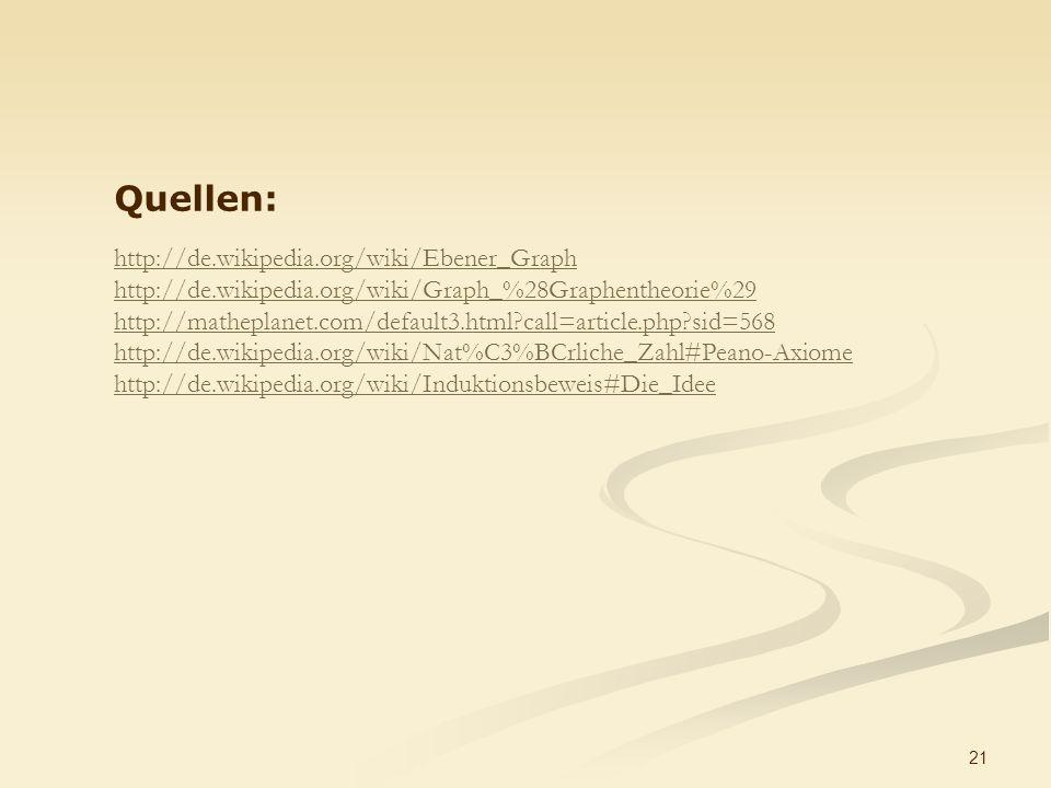 21 Quellen: http://de.wikipedia.org/wiki/Ebener_Graph http://de.wikipedia.org/wiki/Graph_%28Graphentheorie%29 http://matheplanet.com/default3.html?call=article.php?sid=568 http://de.wikipedia.org/wiki/Nat%C3%BCrliche_Zahl#Peano-Axiome http://de.wikipedia.org/wiki/Induktionsbeweis#Die_Idee