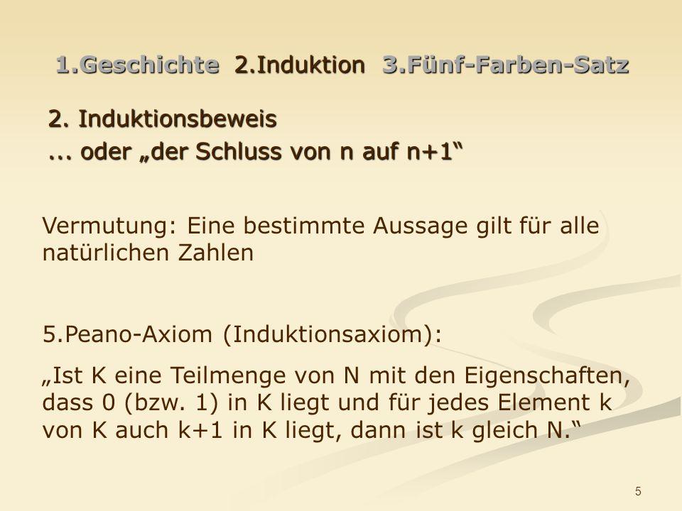 5 1.Geschichte 2.Induktion 3.Fünf-Farben-Satz 2.Induktionsbeweis...