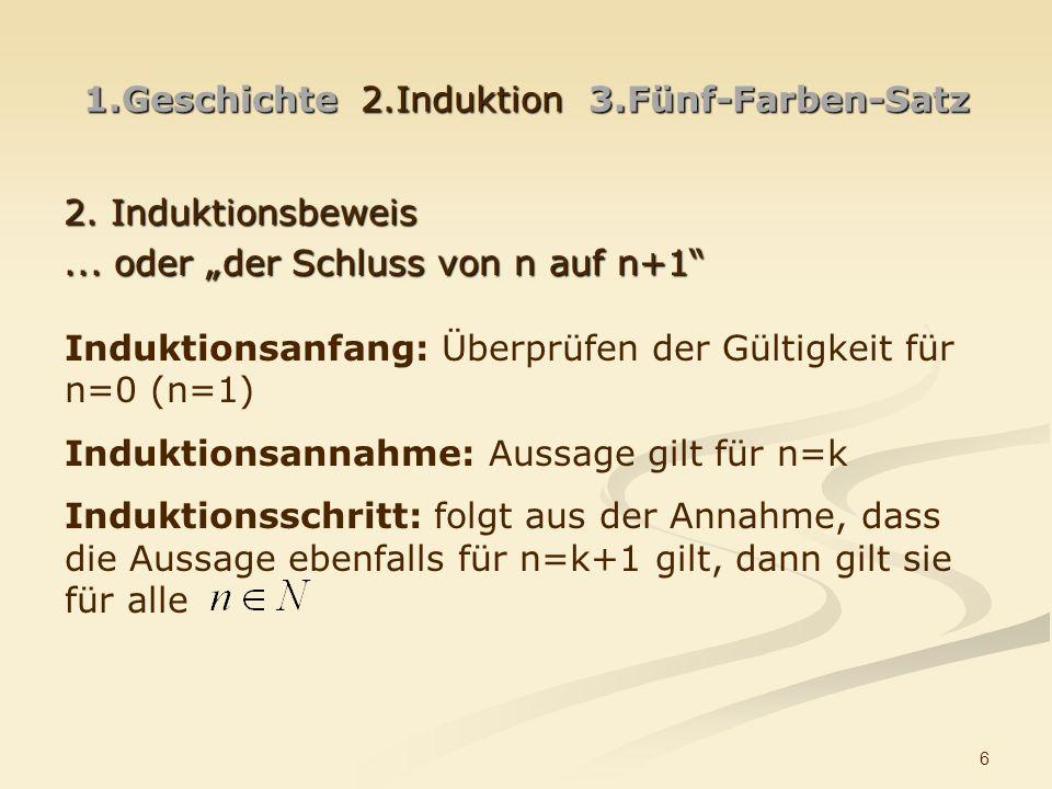 6 1.Geschichte 2.Induktion 3.Fünf-Farben-Satz 2.Induktionsbeweis...