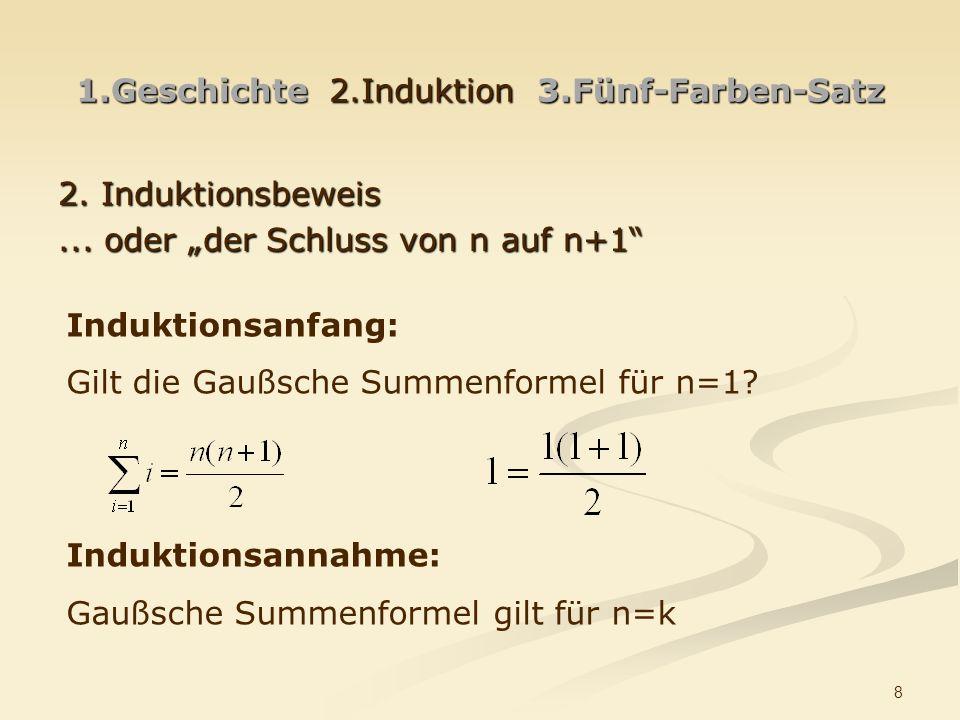 8 1.Geschichte 2.Induktion 3.Fünf-Farben-Satz 2. Induktionsbeweis... oder der Schluss von n auf n+1 Induktionsanfang: Gilt die Gaußsche Summenformel f