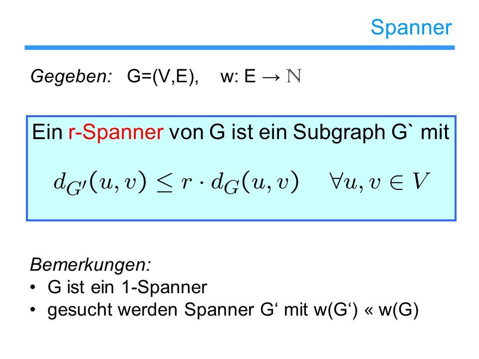 Ein r-Spanner von G ist ein Subgraph G` mit Spanner Gegeben: G=(V,E), w: E N Bemerkungen: G ist ein 1-Spanner gesucht werden Spanner G mit w(G) « w(G)